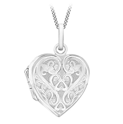 Tuscany Silver Sterling Silver Filigree Heart Locket on Curb Chain of 46cm/18 jNX8d