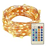 LED String Light,Airsspu 33 feet Copper Wire with 100 LEDs Warm White Waterproof Decorative Outdoor Lights with Remote Control for Bedroom, Christmas, Wedding,Parties