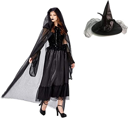 Black Tall Witch Hat With Veil Ladies Halloween Fancy Dress Costume Party Horro