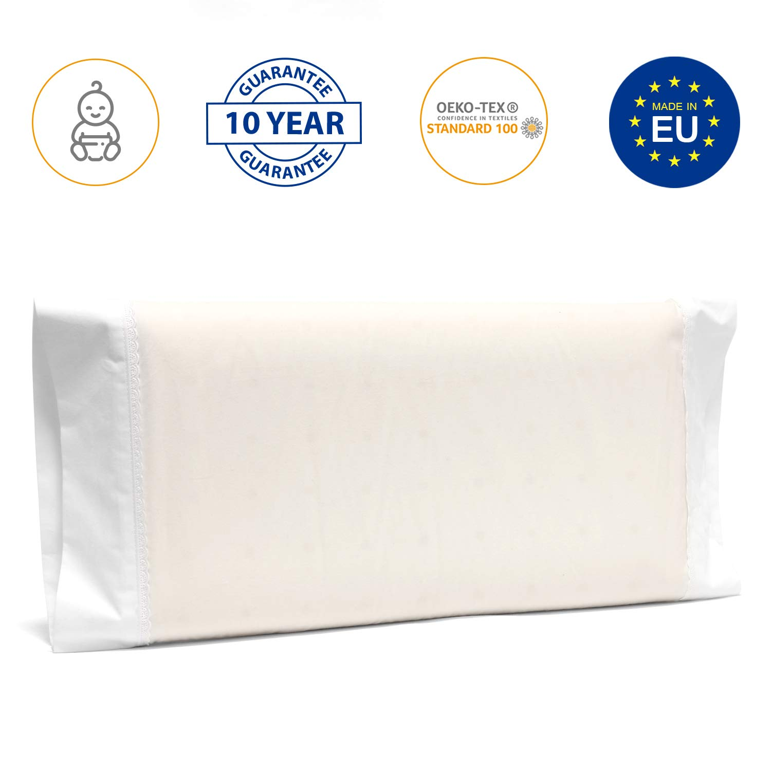 Flat-Head Syndrome /& Plagiocephaly Prevention Toddler Bed and Moses Basket 50 x 30 cm Made in Europe /& Oeko Tex Certified Memory Foam Pillow for Travel Cot Newborn Essentials