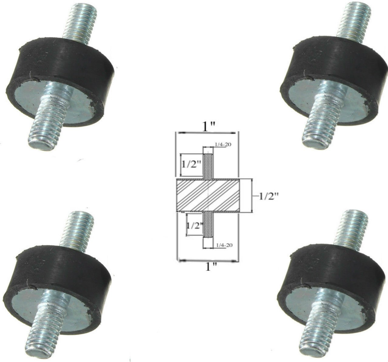 Lot of (4) Rubber Anti Vibration Isolator Mounts Rubber Height 1/2'' x 1'' Rubber Diameter - Studs 1/4-20 x 1/2'' Length