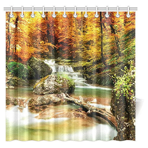Autumn Waterfall - InterestPrint Waterfall Shower Curtain, Autumn Creek Woods Yellow Trees and Foliage Rocks in Forest Fabric Bathroom Shower Curtain Set with Hooks, 72 X 72 Inches Extra Long