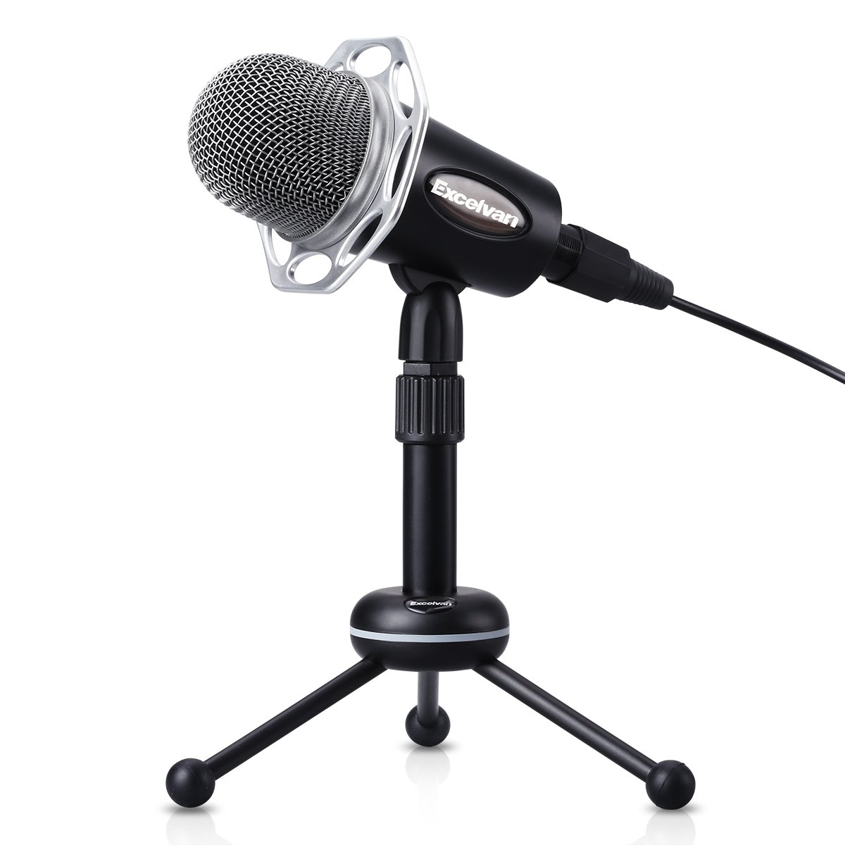 Excelvan Condenser Microphone Black Y20 3.5mm Desktop Microphone with Volume Control and Adjustable Table Tripod Stand Broadcasting Recording Podcasting Studio Mic for Mobile Phones, Laptops, Desktop