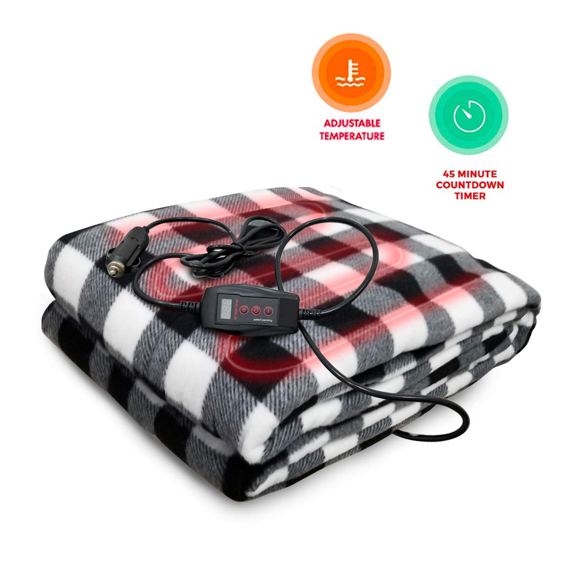 Zento Deals Premium Quality Vehicle Electric Heated Blanket Black and White - 12 Volt Heated Travel Blanket by Zento Deals