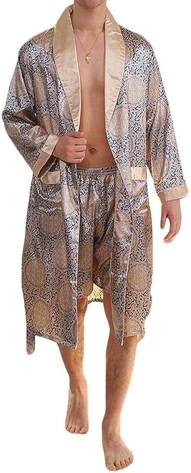 Pijama De Verano para Hombres Kimono Robe Soft Satin con ...