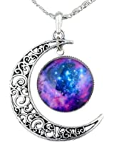 niceEshop(TM) Hollow Out Crescent Star Galactic Cosmic Moon Necklace(Purple)