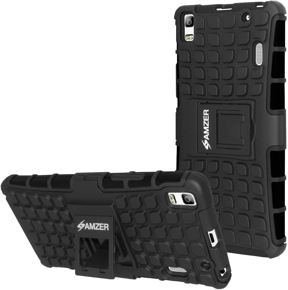 Amzer Impact Resistant Carrying Case for Lenovo A7000, Lenovo K3 Note - Retail Packaging - Black