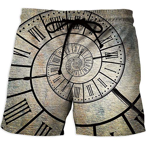 Pace Digit Clock (Mens Boardshorts Swim Trunks Quick Dry Shorts,Clock DecorWorkout Gym Running Tight Lifting ShortsA Roman Digit Time Spiral on The Vintage Textured Background Antique Design Print)