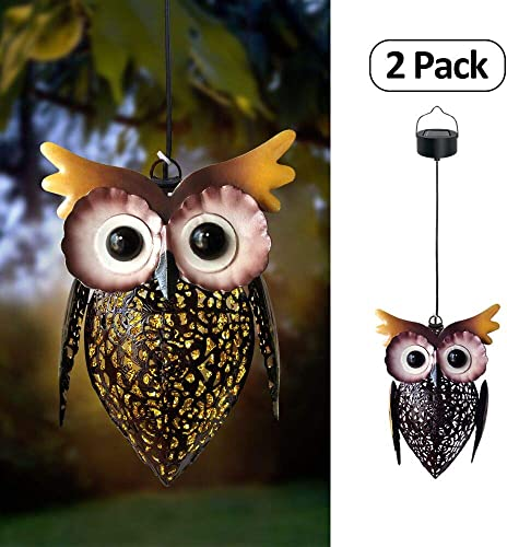 Petrala Solar Lantern Lights Hanging Outdoor Vintage Cute Owl Metal Lanterns 7 lumens Brown for Garden Patio Porch Gifts 2 Pack