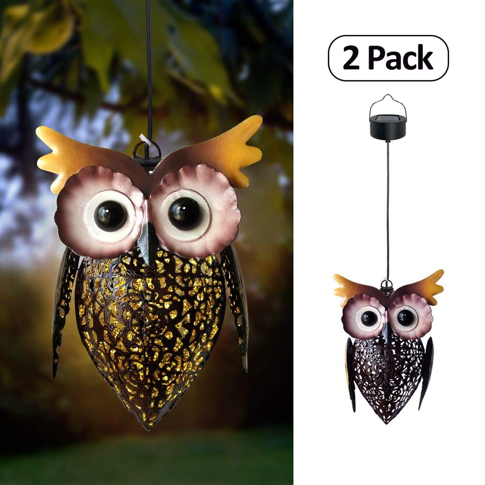 Petrala Solar Lantern Lights Hanging Outdoor Vintage Cute Owl Metal Lanterns 7 lumens Brown for Garden Patio Porch 2 Pack by Petrala