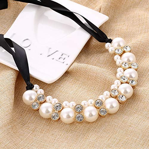 Imitation Pearl Chokers Necklace White/Black Beads Rhinestone Ribbon Necklaces & Pendants Statement Necklace For Women-in Choker Necklaces
