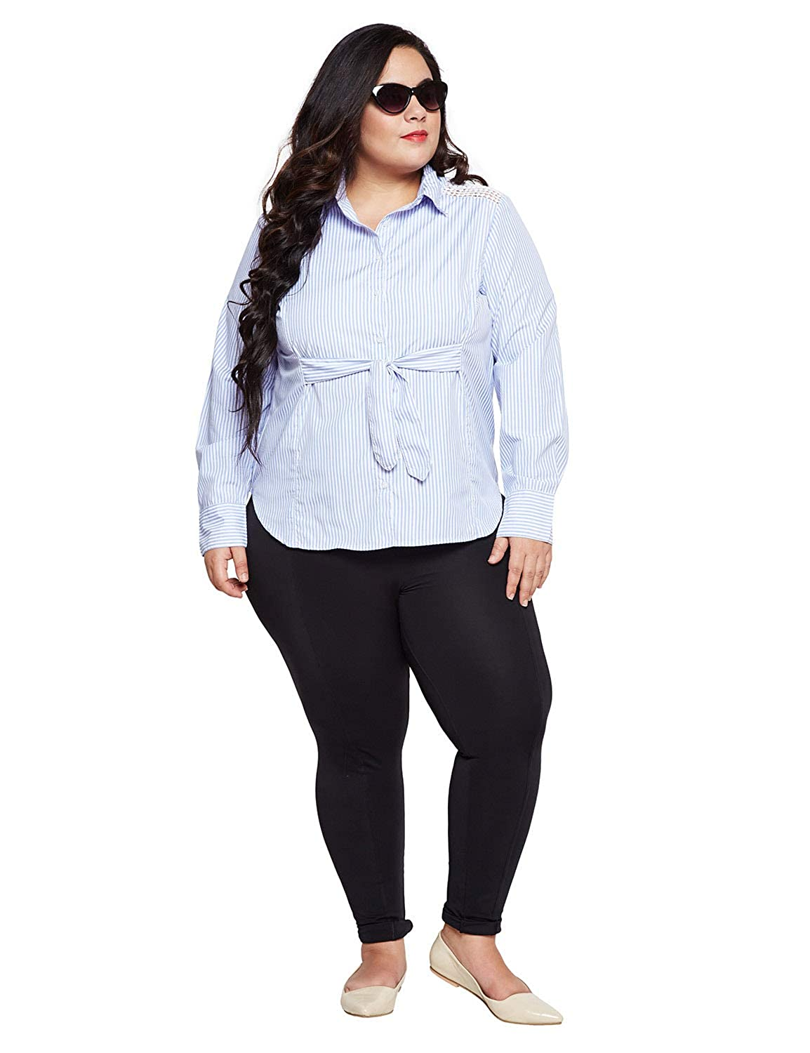 b7fbc35302b6a6 oxolloxo Plus Size Women Off White Striped Shirt Long Sleeves  Amazon.in   Clothing   Accessories