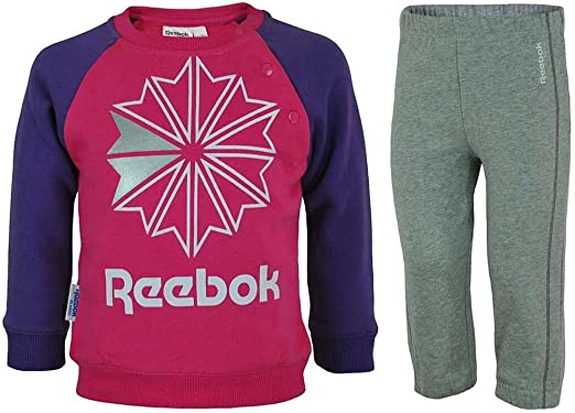 Reebok Jogging Set Kids Track Suit Baby bebé chándal Rosa/Gris ...