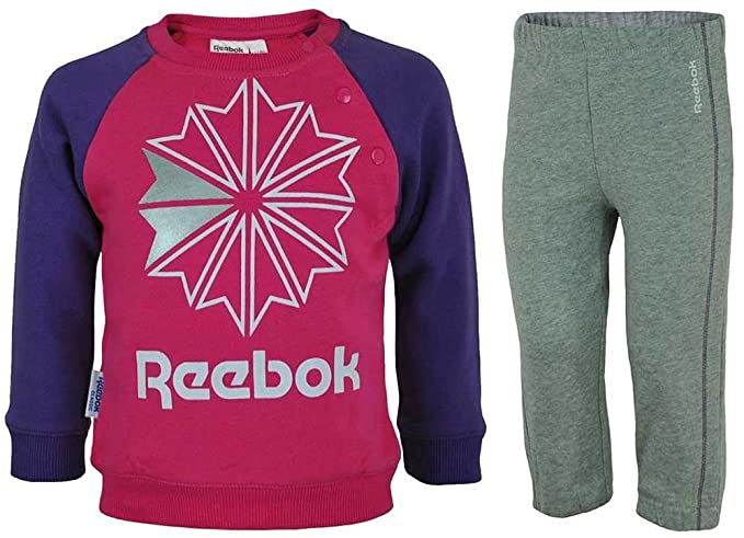 6d11962f977 Reebok Jogging Set Kids Track Suit Baby Toddlers Suit Tracksuit Pink/Gray:  Amazon.co.uk: Clothing