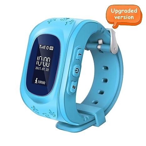 Witmoving Childrens Smartwatch Reloj Infantil Pulsera Inteligente GPS Rastreador Localizador SOS Llamada para Android IOS (