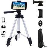 Adurei - 102cm Alluminio Cavalletto Treppiede Reflex per fotocamera, Gopro, Smartphone, Compreso Supporto Universale Cellulare e Telecomando Bluetooth per Video e Fotografico