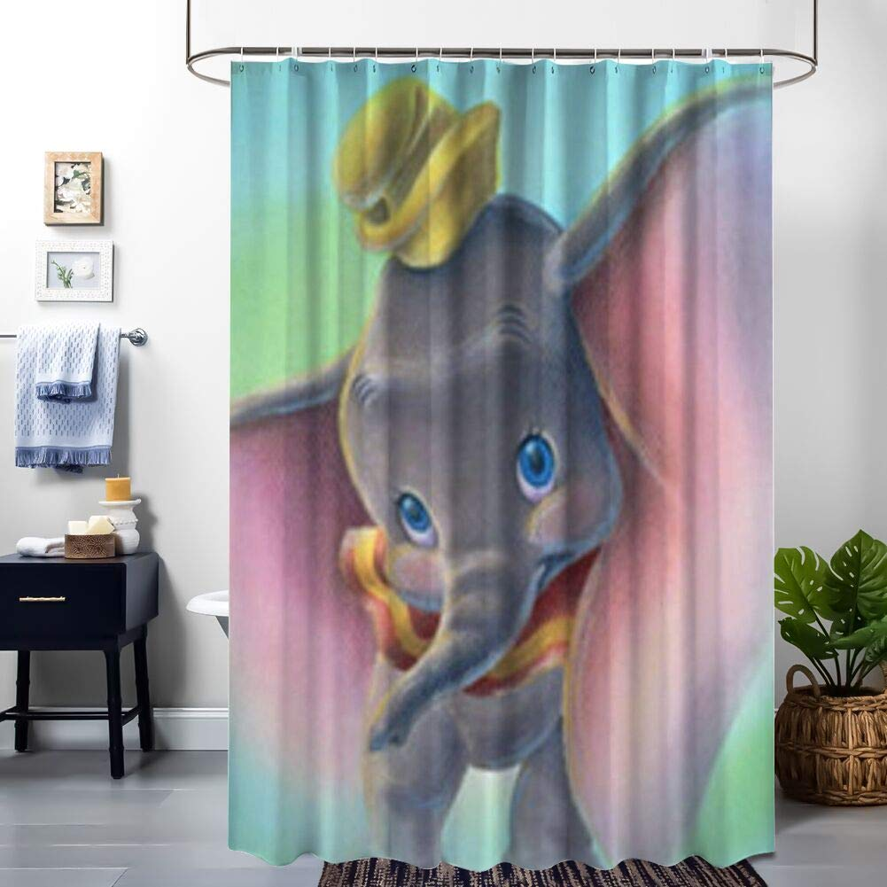 DISNEY COLLECTION Shower Curtain Dumbo Bathroom Shower Curtains with Hooks