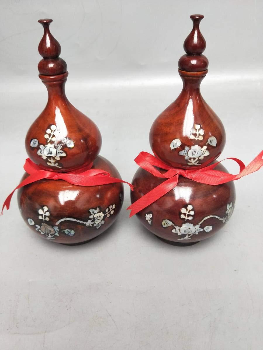 古美術 花梨木 彫刻 ひょうたん 花瓶 花器 工芸品 手作り 置物 贈り物 ギフト可 B07QLDP611