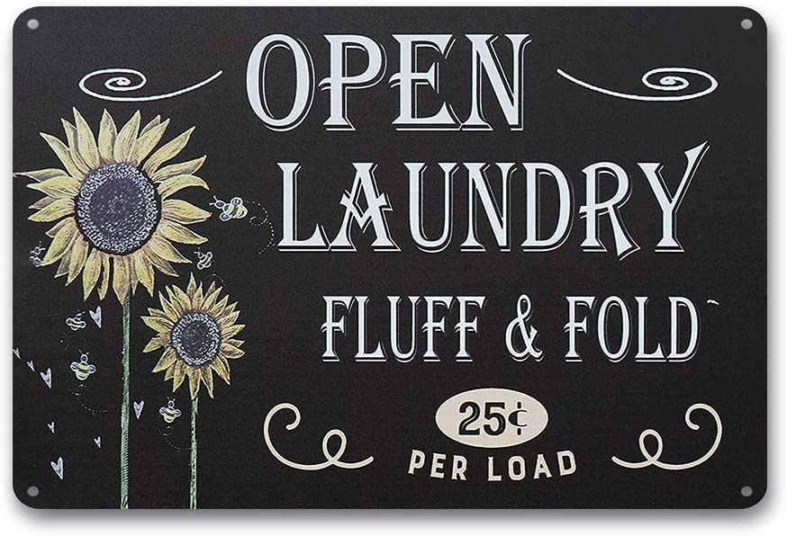 Goutoports Laundry Room Vintage Metal Sign Sunflower Laundry Decorative Signs Wash Room Home Decor Art Signs 7.9x11.8 Inch