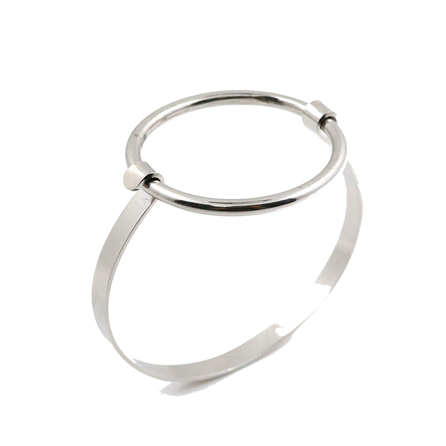 Find-Excellence 5mm Width Minimalist Jewelry Simple Charm Big Round Bangle Wire Cuff Bracelet Lovers' Gift,Silver