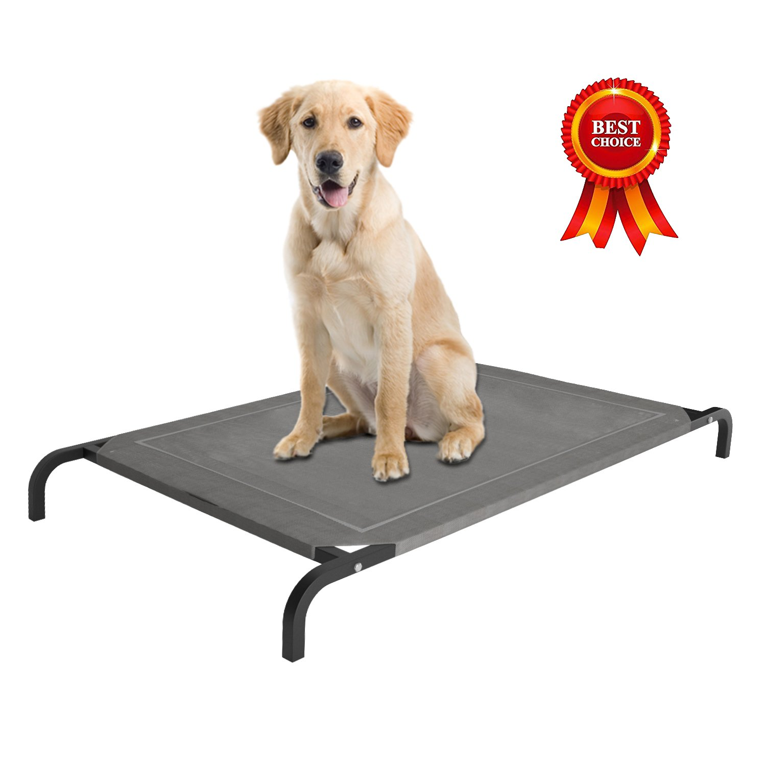 Home Intuition Elevated Pet Bed with Breathable Knitted Fabric (Grey)