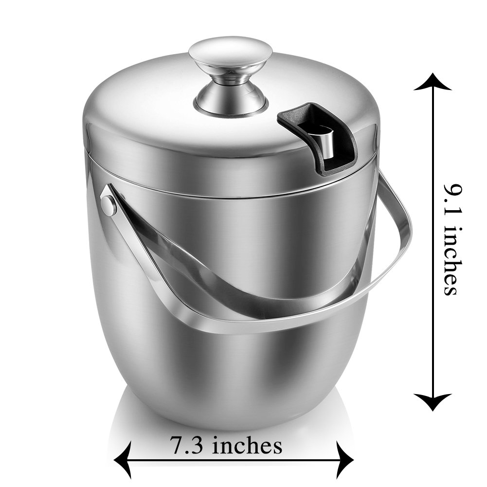 Insulated Ice Bucket,Stainless Steel Double Wall Ice Bucket with Lid and Tongs,2.8-Litre,Silver by Fortune Candy (Image #7)