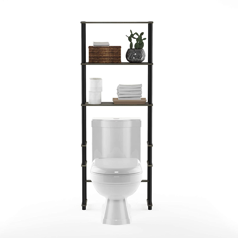 French Oak Grey//Black Furinno 99763GYW//BK Turn-N-Tube with 3 Shelves Toilet Space Saver