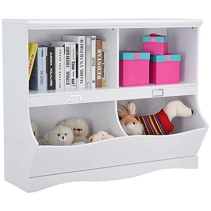 Merveilleux Children Storage Unit Kids Bookshelf Bookcase White Baby Toy Organizer Shelf
