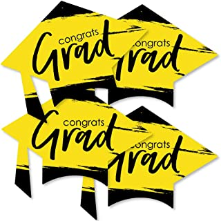 product image for Big Dot of Happiness Yellow Grad - Best is Yet to Come - Grad Cap Decorations DIY Yellow Graduation Party Essentials - Set of 20