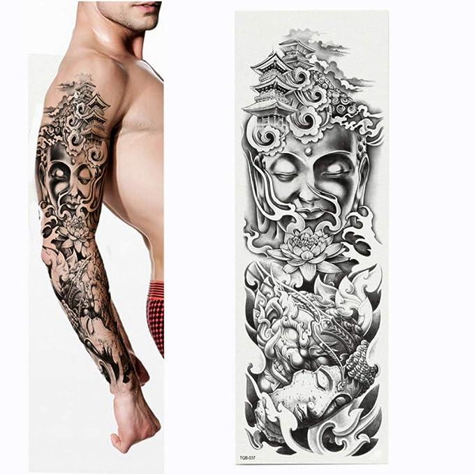 Flor completa Etiqueta engomada del tatuaje del brazo Estatua de ...