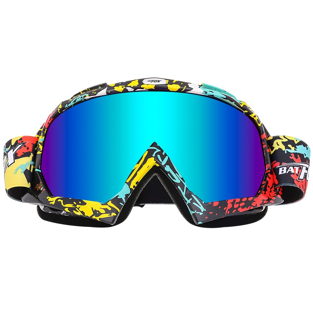BATFOX Motorcycle ATV Goggles Dirt Bike Motocross Safety ATV Tactical Riding Motorbike Glasses Goggles for Men Women Youth Fit Over Glasses UV400 Protection Shatterproof (Colorful) by BATFOX