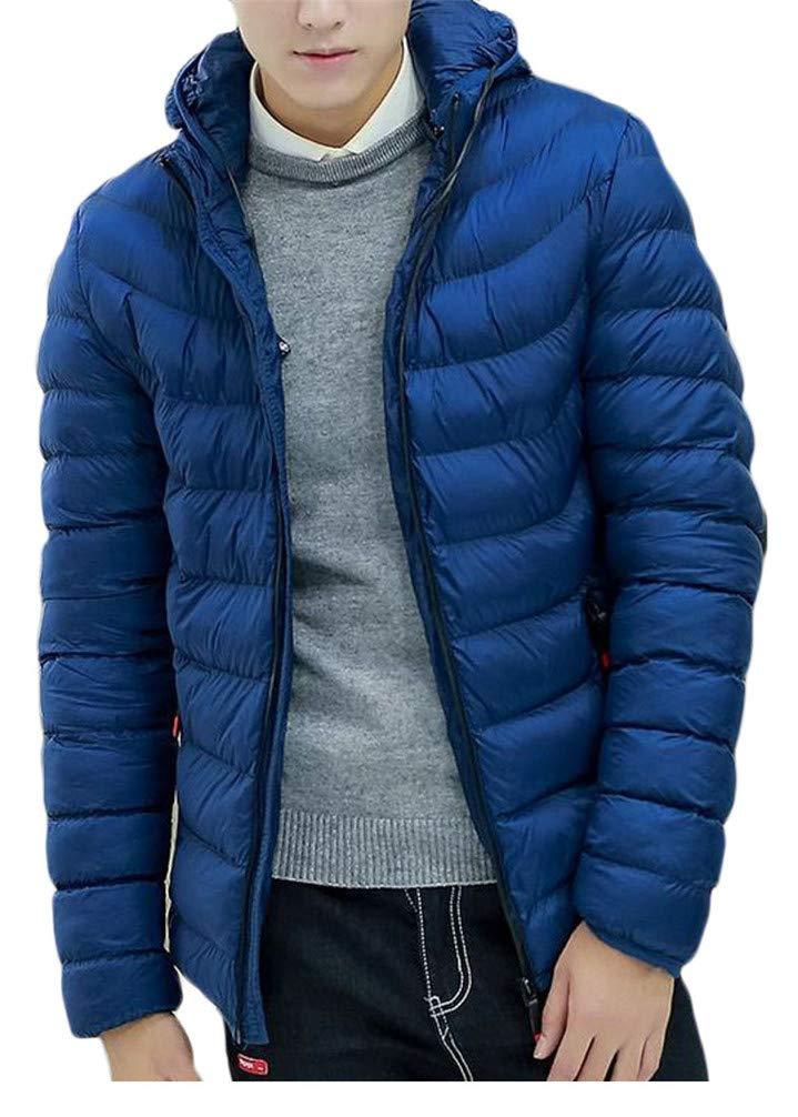 Pivaconis Mens Winter Quilted Thicken Hooded Down Zipper Jacket Parka Coat Jewelry Blue S