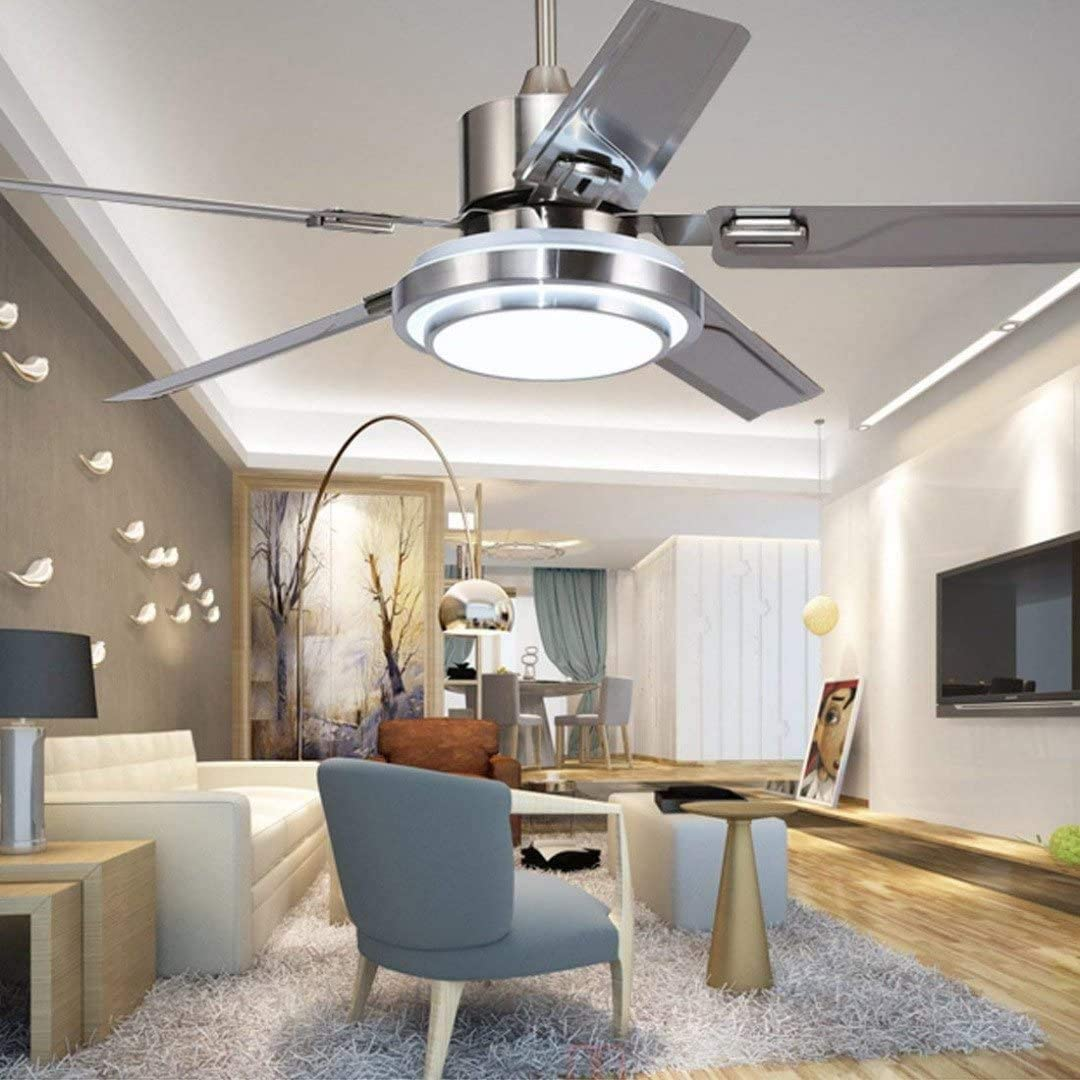 J.DM 5 Ventilador de Techo con Mando a Distancia Hoja 3 Giratorio de Acero Inoxidable de la lámpara de LED del Ventilador Interior de la lámpara de Ruido-luz del Ventilador inversa Ajustable,Silver