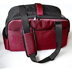 WLE A034 1680D Oxford Airline Approved Soft Sided Pet Carrier Dog Cat Travel Carrier Ideal for Car, Luggage, Handle?Red