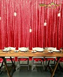 8FTX8FT Red SEQUIN PHOTO BACKDROP,Wedding Photo Booth,Photography Background,Ceremony Background (8FTX8FT)