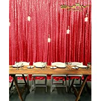 7FTX7FT Red SEQUIN PHOTO BACKDROP,Wedding Photo Booth,Photography Background,Ceremony Background (7FTX7FT)