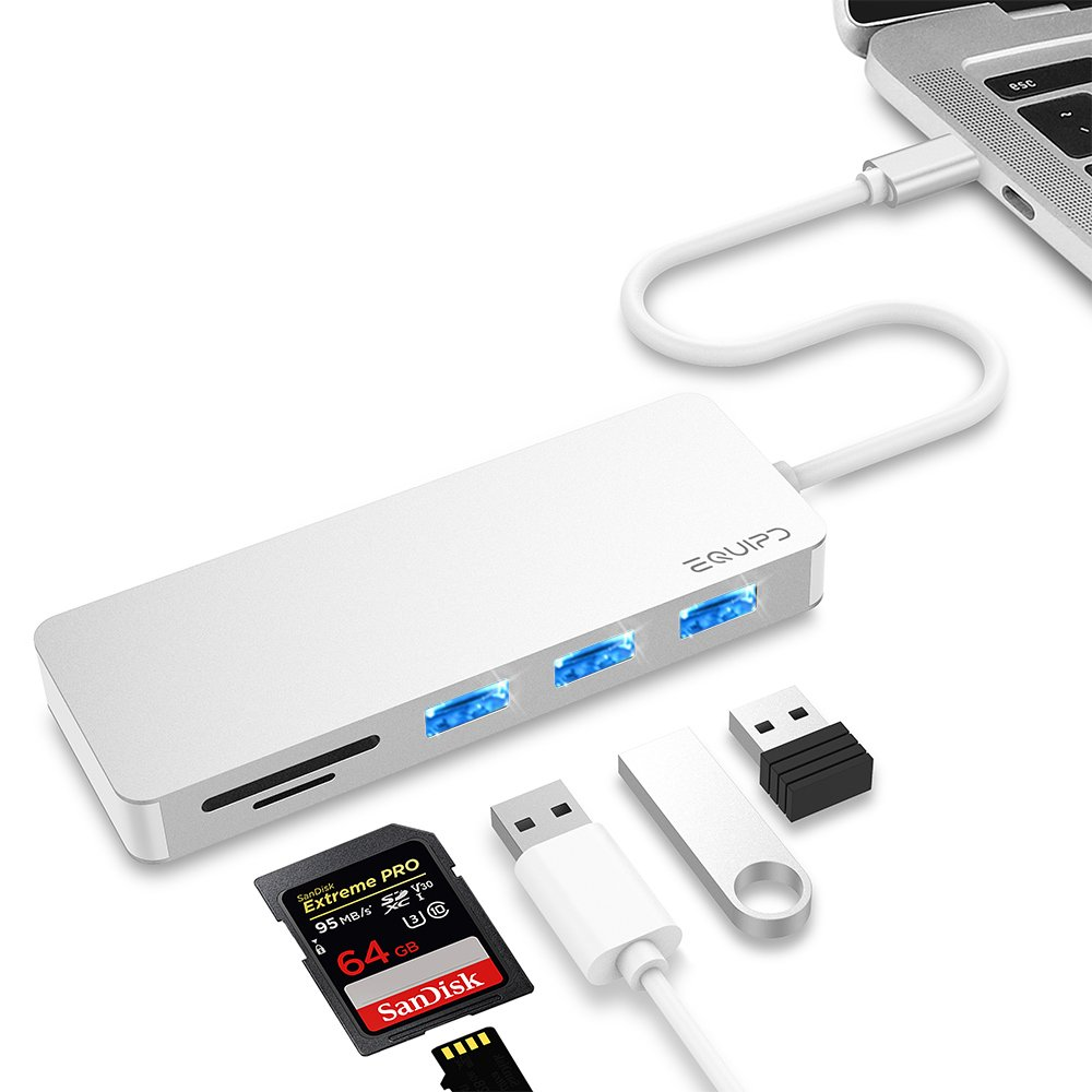 """USB C Hub, EQUIPD 5 IN 1 Aluminum Type C Adapter with 3 USB 3.0 Ports SD/SDHC/microSD Card Reader for New Macbook/Pro 13"""" 15 2015/2016/2017/Google Chromebook and more Type C Devices – Silver"""