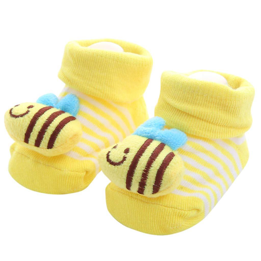 Viesky Neugeborenes Baby Prewalker Baumwolle Boden Socken Cute 3D Cartoon Tier Rainbow Stripe Anti-Rutsch-Sohle Infant Cuffed Slipper Schuhe 0-12M