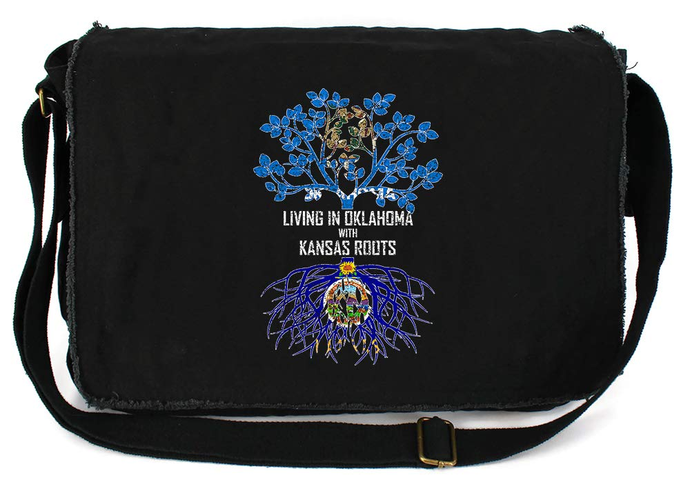 Tenacitee Living In Oklahoma with Kansas Roots Grey Brushed Canvas Messenger Bag