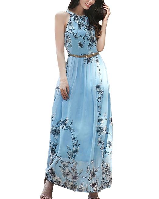Auxo Muejer Vestidos Largos Elegante Faldas Flores Bohemia Playa Fiesta Cinturón Verano Azul ES 38-