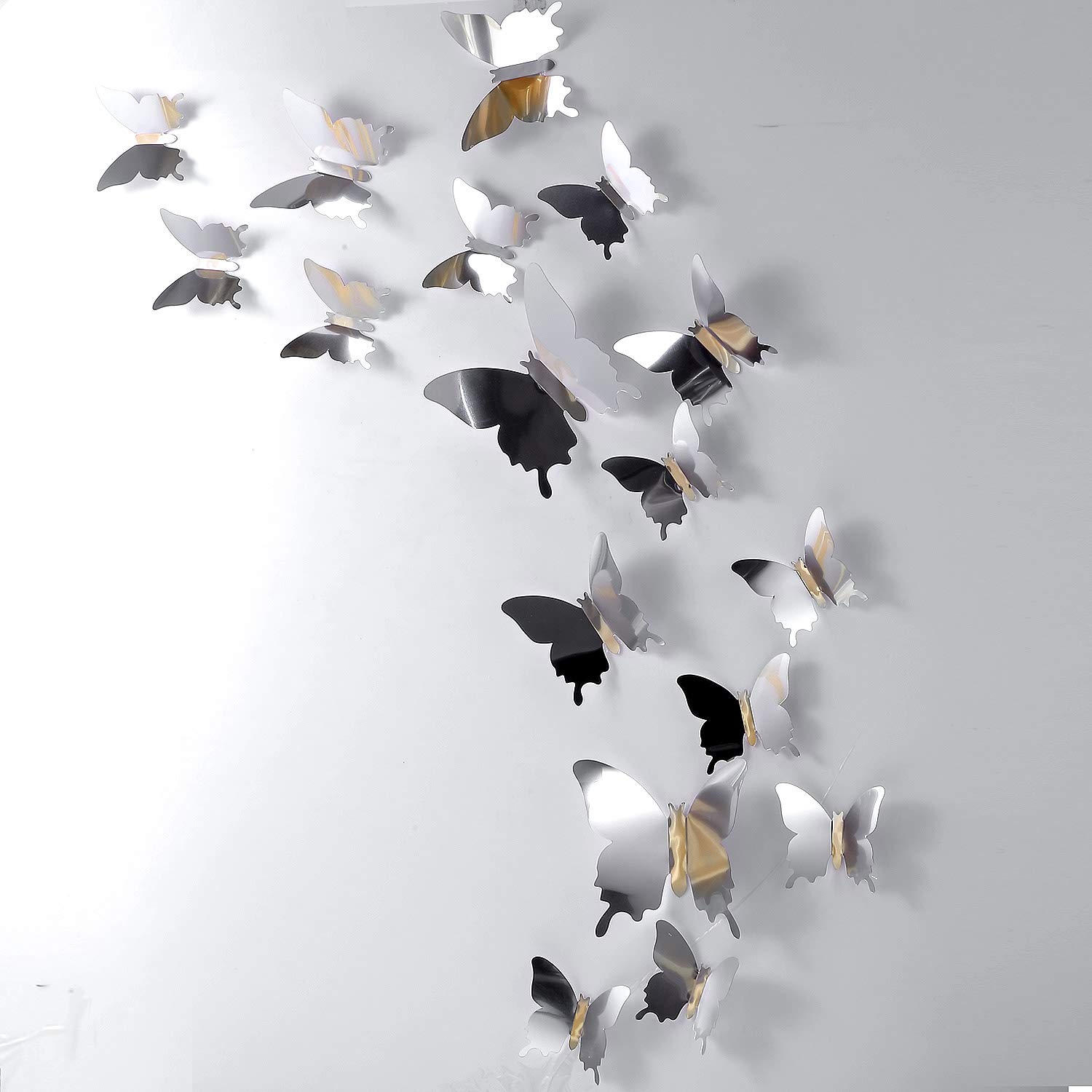 48 Pieces DIY Mirror Butterfly Combination 3D Butterfly Wall Stickers Decals Home Decoration