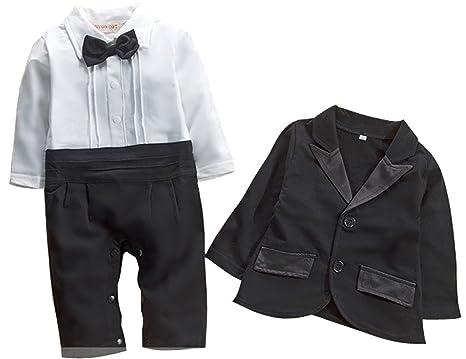 2pc Bebé Niños Caballero Pelele de esmoquin boda fiesta y corbata ...