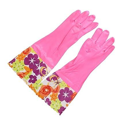 BESTONZON 1 Pair Kitchen Rubber Cleaning Gloves Household Thickening Velvet Waterproof Dishwashing Latex Glove (Pink)