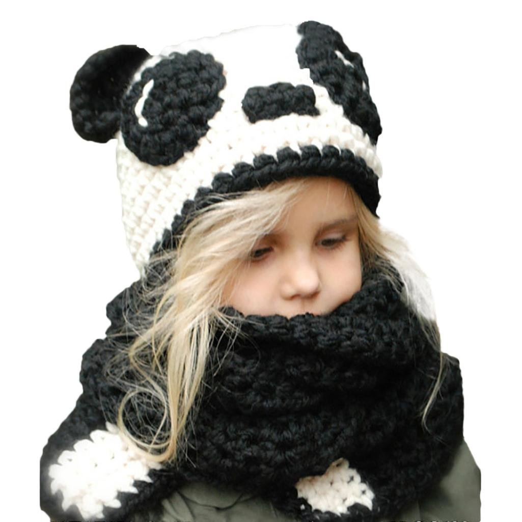 Baby Boys Girls Winter Warm Knitting BallHat+Scarf Sets (Black)
