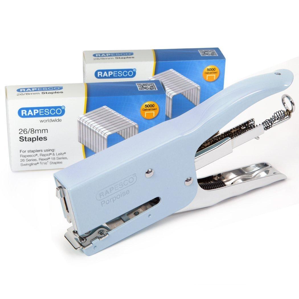 Rapesco Porpoise - Grapadora metalica de de metalica tenaza, 40 hojas de capacidad, incluye 10.000 grapas 26/8 - plateada 26ad35