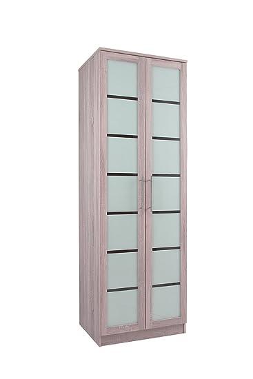Kleiderschrank 2 Türen, Used-Look, gekalkte Eiche &Glas-Vancouver ...