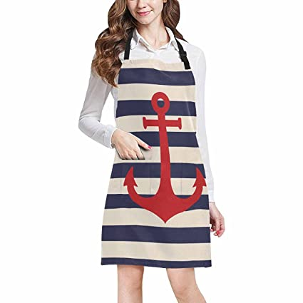 InterestPrint Navy Blue Striped Marine Background with Nautical Anchor  Kitchen Apron - Mens and Womens Bib 4e12a8d977