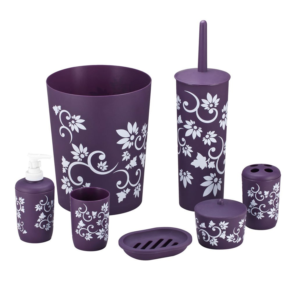 Plastic bathroom sets - Durable 7 Piece Printed Bathroom Set In Purple