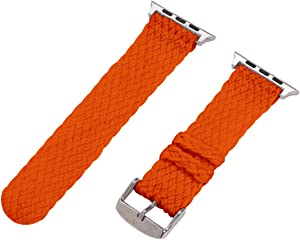 Clockwork Synergy - 2 Piece Double Braided Perlon Band for 42mm Apple Watch (Orange)
