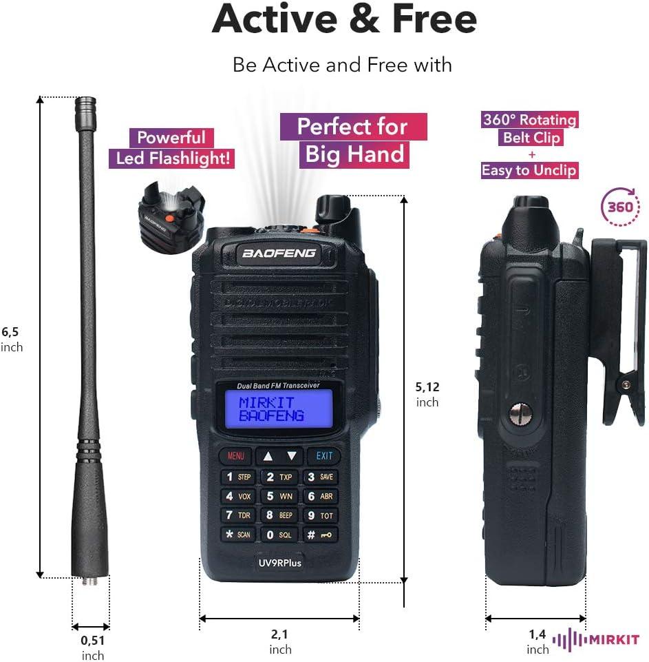 Cold /& Waterproof Radio with Hard Case IP67 IP67 Portable Radio: UHF /& VHF; Dust Ham Radio Handheld and 2200mAh Battery Mirkit Edition 2020 Mirkit UV-9R Plus MK1 8W Waterproof